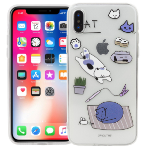 "Чехол для iPhone X/XS ""Cat"" (голубой)"
