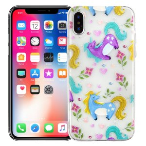 "Чехол для iPhone X/XS ""Flowery unicorns"""