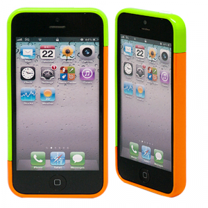 "Бампер для iPhone 5/5s ""Candy colors - lime & orange"""