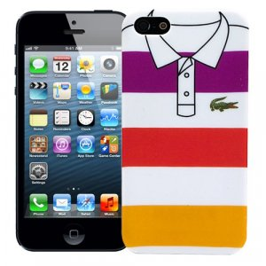 "Чехол для iPhone 5/5s ""Purple, red, yellow stripes"", серия ""Sports shirt"""