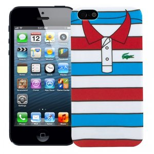 "Чехол для iPhone 5/5s ""Red with blue stripes"", серия ""Sports shirt"""